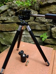 1. Losing Weight. First of 3 shots showing alterations to this handy little travel tripod. (Keefy243) Tags: old 30 plus years velbon 560gms