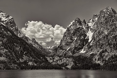 Jenny Lake (Travels with Kathleen) Tags: sky blackandwhite mountains water clouds landscape outdoor ngc lakes scenic wyoming grandtetons jacksonhole grandtetonnationalpark jennylake
