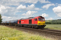 60074 Claxby ~ 24/6/16 (deltic17) Tags: train countryside diesel sunny loco db lincolnshire oil locomotive tankers dbs schenker wolds ews lincs class60