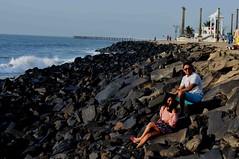 DSC_2949 (rajashekarhk) Tags: beach blue beauty southindia sky colours couple puducherry pondicherrybeach rajashekar rocks hkr travel tourism tourist