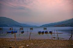 Boats at Phewa Lake in Pokhara, Nepal (CamelKW) Tags: nepal lake boats pokhara phewa 2016 everestpanoram
