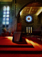 The Hushed Sunlight (Steve Taylor (Photography)) Tags: light shadow newzealand christchurch art texture church window sunshine stone architecture digital table carpet spring chair glow arch cathedral steps sunny nelson stainedglass ceiling nz southisland bouquet anglican diocese leadedlights