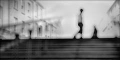 F_DSC4409-BW-1-Nikon D800E-Nikkor 28-300mm-May Lee  (May-margy) Tags: portrait bw blur silhouette buildings bokeh steps taiwan rails    multiexposure           repofchina  newtaipeicity maymargy nikkor28300mm nikond800e maylee  mylensandmyimagination streetviewphotographytaiwan  naturalcoincidencethrumylens  linesformandlightandshadows  fdsc4409bw1