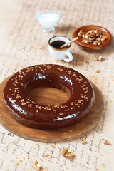 Date Cake with Chocolate Mirror Glaze (iuda) Tags: stilllife food cake dessert baking yummy sweet chocolate pudding sugar delicious glaze bakery icing date dates bundt foodphoto foodphotography mirrorglaze