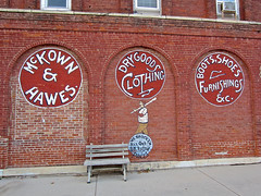 McKown & Hawes, Atlanta, IL (Robby Virus) Tags: atlanta brick sign wall illinois clothing shoes boots painted ghost ad dry goods advertisement clothes furnishings hawes repainted mckown