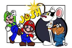 Danger Mouse Mario and Luigi poster (cazcarrot) Tags: art comic nintendo cartoon mario bbc dangermouse bomb luigi penfold