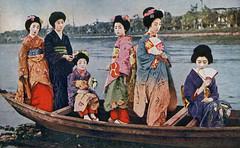 Komitsu with Tokiko and Others  1910s (2) (Blue Ruin 1) Tags: japan japanese boat kyoto postcard maiko geiko geisha 1910s kamogawa uchiwa kamoriver roundfan apprenticegeisha taishoperiod tokiko hikizuri susohiki komitsu trailingkimono