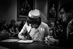 The decisive moment (Hans Dethmers) Tags: blackandwhite monochrome bride flickr zwartwit marriage contract signe huwelijk trouwen hansdethmers