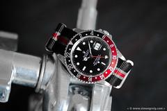 Black, Red and Grey (Simon Greig Photo) Tags: red black macro closeup studio swiss watch coke timepiece rolex nato gmtmasterii