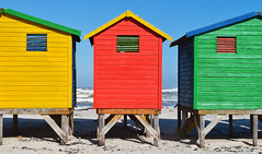 Colorful huts (Jean-Loic D) Tags: africa wood blue red sea sky mer color green beach window southafrica rouge seaside sand nikon colorful sable vert huts bleu ciel plage fentre couleur bois color afrique cabanes afriquedusud
