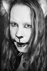 BnW_Cat (Shiny Pet) Tags: blackandwhite facepainting longhair bdsm catears catgirl gagged ballgag catcostume catplay spikecollar catboy catcollar petplay catmakeup slavecollar