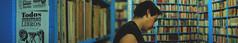 Buscando algo bonito que leer. (Gusmund) Tags: blue portrait men boyfriend shop mxico colours retrato library books panoramica libros hombre panoram libreria novio donceles cdmx oldbookstore