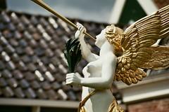 0035 (combustiblewater) Tags: angel cherub statue wings gold trumpet sculpture rooftops closeup analog film colour openluchtmuseum arnhem nederland netherlands