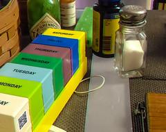 ana6.0 breakfast table 6-25-16 (fredtruck) Tags: breakfast table salt medicine hotsauce vitamins