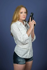 Armed (misseclipse) Tags: blonde handgun armed cutoffs