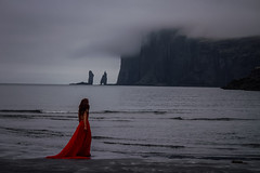 Risin and Kellingin (West Leigh) Tags: ocean travel shadow sea cliff beach rock iceland poem outdoor north dream wanderlust explore story experience gloom nordic faroeislands myth reddress wander discover risinogkellingin wandress