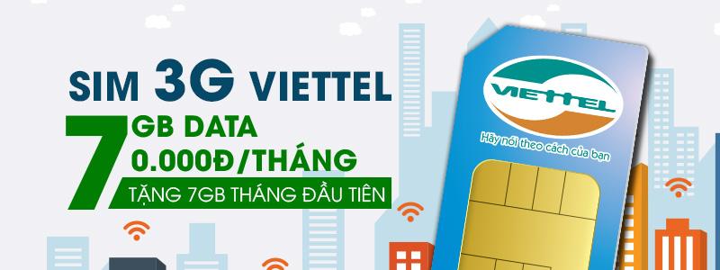 Sim 3G Viettel - 7GB Data mỗi tháng