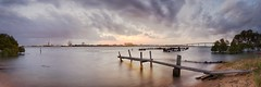 Walk The Plank (Torkn2U) Tags: old bridge sunset panorama pelicans clouds harbour dusk pano shipwreck stockton rickety kooragang