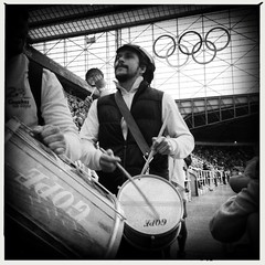 Brazillian Drummers, St James Park Olympics 2012 (billyrosendale) Tags: brazil london newcastle football honduras stjamespark olympics 2012 london2012 londonolympics2012 hipstamatic