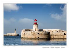Grand Harbour Lighthouses (JayTeaUK) Tags: malta grandharbour harbour port lighthouse green red llighthouses bluesky valletta breakwater mediterranean sea opening entrance guardian coastal marine guidance warning beacon johnturp