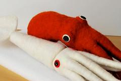Sea Pals (WIP) (hine) Tags: ocean show red sea white art toy geek handmade craft felt exhibition plush softie squid octopus creature giantsquid needlefelt hine nuigurumi