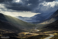 Glen Docherty - West HIghlands (Michael~Ashley (off for a while)) Tags: road light sun mountains clouds landscape photography scotland highlands nikon scenic scottish glen loch beams maree docherty