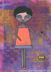 Here (betherann) Tags: pink art girl painting whimsy neon heart mixedmedia whimsical