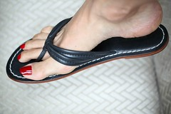 Zoya Rekha (IPMT) Tags: red man black sexy men feet comfortable fetish foot amazing blood zoya perfect toes soft painted gorgeous polish thong flip barefoot stunning flops pedicure toots bernardo sandal toenails toenail nappa rekha tootsies pedi