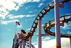 All American Coaster (Gavin Craigie) Tags: california santa usa stars photography pier photo los nikon flickr track december all angeles stripes flag monica american roller rollercoaster coaster