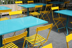Blue & Yellow (notFlunky) Tags: uk blue england yellow liverpool outside one restaurant dock chairs albert tables dining merseyside