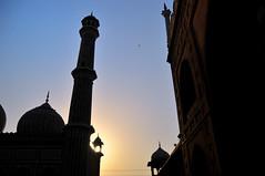 Jama Masjid - New Delhi (eternal_ag0ny) Tags: new blue light sunset shadow sky orange color silhouette yellow evening sundown delhi muslim praying masjid jama