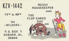 The Flop-Eared Dog & Messy Housekeeper - Auburn, Alabama (The Cardboard America Archives) Tags: dog vintage alabama auburn qsl cleaner mop housewife cbradio qslcard