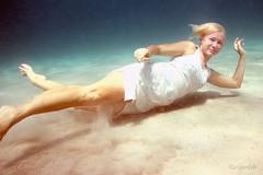 on sandy bottom (Ignati) Tags: sea girl model sand underwater dress philippines bottom dive diving whitedress breathhold