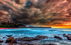 Stormy Morning (**James Lee**) Tags: ocean morning sunset sky seascape storm rock clouds sunrise sydney australia narrabeen 100commentgroup mygearandme wareiwood