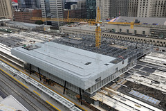 Aerial photo of the continued work at the Union Station train shed (Metrolinx) Tags: construction publictransit union transportation transit aerialphoto unionstation gta gotrain trainshed gostation gotransit bigmove gobus thebigmove glassatrium metrolinx gtha uniongostation unionstationrevitalization uniontrainshed movethegtha