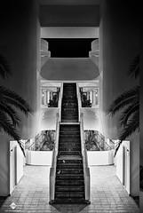 Illusion (Explored) (chmeermann   www.chm-photography.com) Tags: bw monochrome architecture stairs hotel blackwhite nikon steps treppe architektur sw nikkor schwarzweiss hdr majorca stufen 18135 d80 platjademuro albuferapark