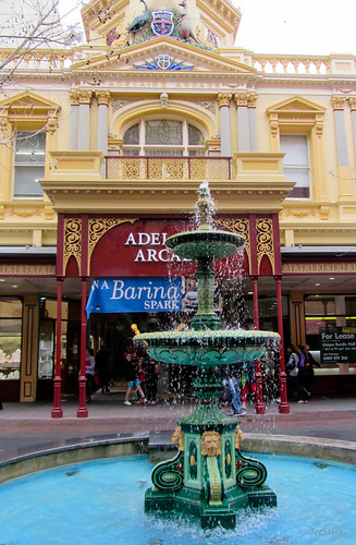 windows building wet water fountain rain design words arcade adelaide austraila rundlemall archticture