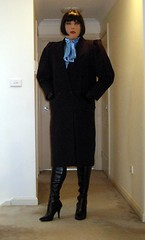 Retrospective (4) (Furre Ausse) Tags: blue winter black leather aqua long boots turquoise coat blouse trench gloves bow satin overcoat
