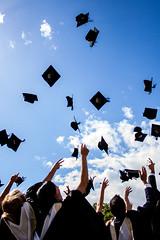 Graduation (Mark Ramsay) Tags: blue sky london clouds 350d university graduation hats toss goldsmiths