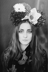 In a world of our own XXVII (Ella Ruth) Tags: flowers portrait woman floral girl fashion scarf 50mm photographer leicester 14 longhair makeup naturallight shrewsbury indoors femalemodel autumnal headpiece sarahgray nikond90 ellaruth