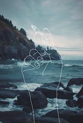 Cigarrillo en mano (LutxOspina Manzano) Tags: ocean sea mountains water mar hands agua rocks manos ilustracion montaas piedras oceano