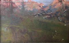 Eugenio Prati Paesaggio alpino bozzetto olio su tavola 9 x 19 cm Collezione privata