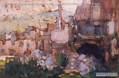 Romualdo Prati Veduta di Calceranica oilio su tavola 23,5x36cm Collezione privata