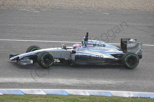 Jenson Button in his McLaren at Formula One Winter Testing 2014