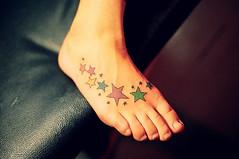colorful stars tattoo on foot (tattoos_addict) Tags: tattoo stars foot colorful startattoo