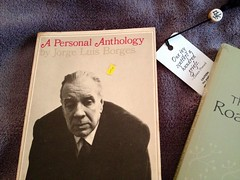 borges (LauraSorrells) Tags: favorite stilllife home book object gray blanket april bookmark proverb jorgeluisborges borges thecove iphone 2014 baronwormser favoritewriter theroadwashesoutinspring