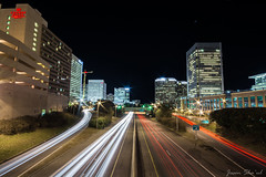 Richmond Rush (Jason Sha'ul) Tags: city longexposure nightphotography car architecture night buildings evening virginia nikon highway automobile downtown cityscape nightlights traffic citylife onramp wideangle automotive richmond interstate dslr 195 lighttrail offramp sigma1020mm sigmalens 21914 longexposurephotography d7100 jasonshaul trendsetterdevelopments