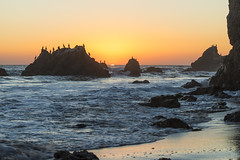 How strange that nature does not knock, and yet does not intrude! (ferpectshotz) Tags: sunset sun birds rocks waves haystacks pacificocean socal pacificcoast pacificcoasthighway elmatadorbeach
