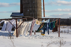 Amish Laundry Hung Out to Dry at a Farm in Central Michigan (Lee Rentz) Tags: old winter usa snow america landscape outdoors clothing midwest wind snowy michigan farm traditional country farming windy sunny line silo amish clothes laundry edge northamerica hanging clothesline monday breeze centralmichigan hung clothespins drying snowcovered wintery wintry sunning midwestern lowerpeninsula midmichigan