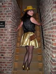 Follow me (Paula Satijn) Tags: hot sexy stockings girl hat gold golden shiny pumps legs silk skirt tgirl transvestite heels satin miniskirt gurl